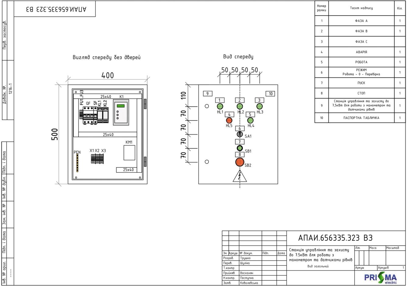 Станція управління та захисту для роботи з манометром і датчиками рівнів